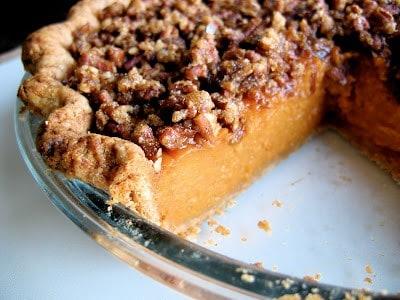 close up of sweet potato pie