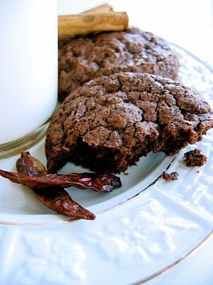 triple chocolate chile cookies on a plate