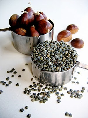 chestnuts and lentils on a table