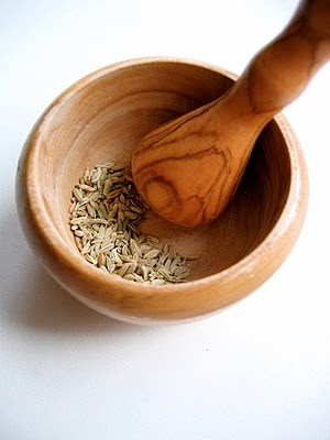 fennel in a pestle and mortar