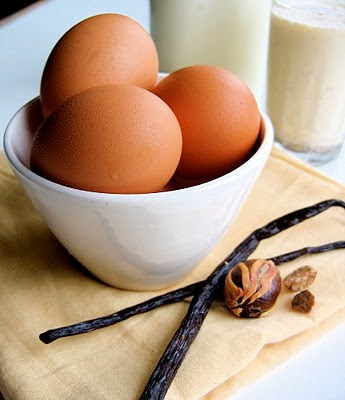 eggs and vanilla pods