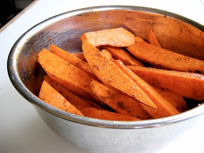 sliced sweet potatoes in a bowl