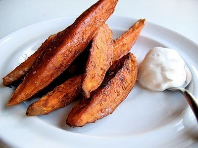 sweet potato oven fries on a plate