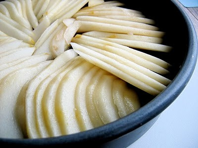 sliced pears in a pan
