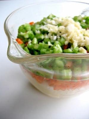 chopped veggies in a jug