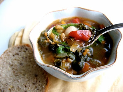 spoonful of farro soup