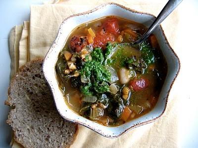 overhead shot of farro soup