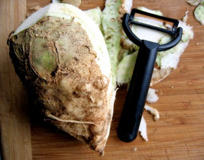 celeriac being peeled