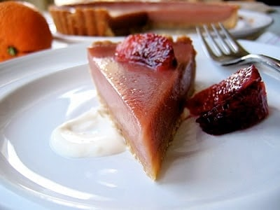 slice of blood orange tart on a plate