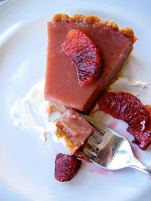 slice of blood orange tart with fork
