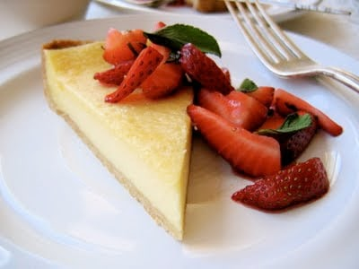 lemon mascarpone tart on a plate
