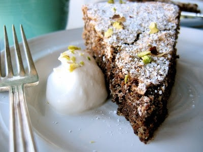 slice of delicious pistachio chocolate torte