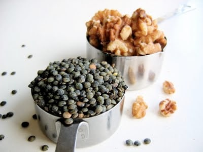 a scoop of lentils and walnuts for vegan pate recipe