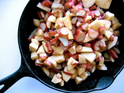 apples and rhubarb cooking in a pan