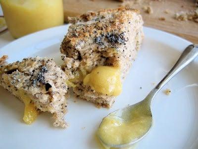 slice of poppy seed and lemon curd mega scone