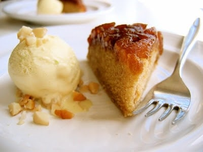 slice of pineapple upside down cake with ice cream