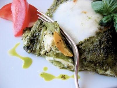 fork slicing into lasagna