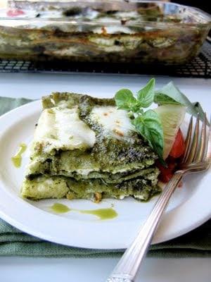 slice of zucchini pesto lasagna