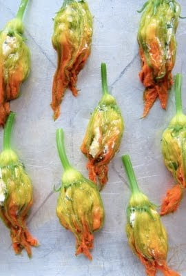stuffed squash blossoms in a row