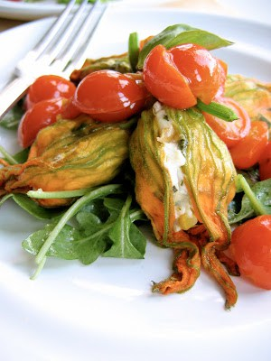 cherry tomatoes and squash blossoms