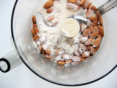 almonds in a mixer