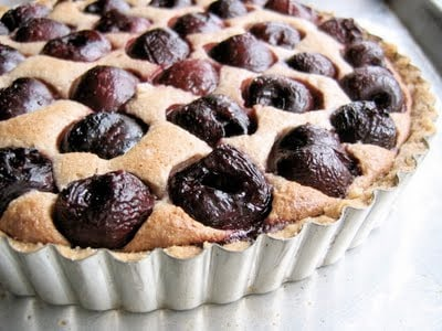 cherry tart in baking tray