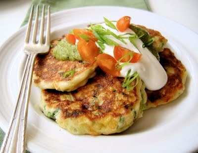 griddle cakes with avocado topping