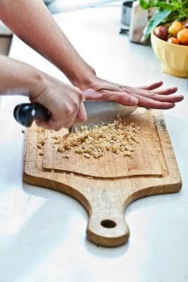 crumbs on chopping board