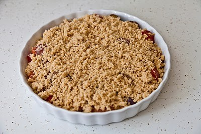 plum crumble on kitchen counter