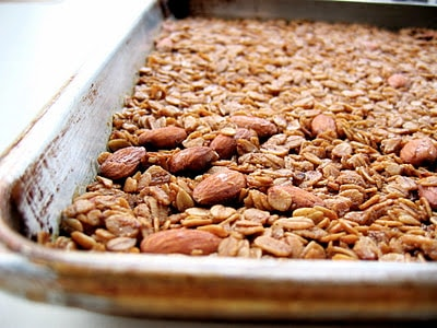 granola on a baking tray