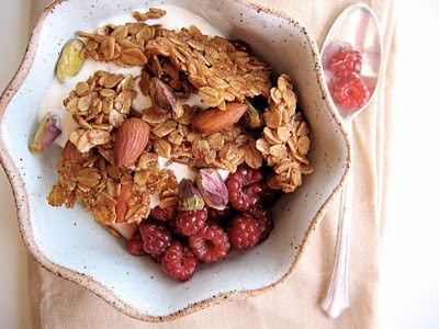 cardamom honey granola in a bowl