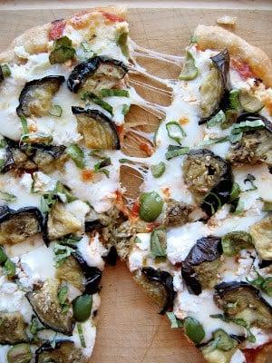 pizza cut in half