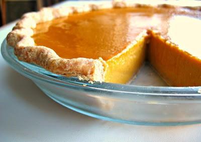 side shot of creamy pumpkin pie