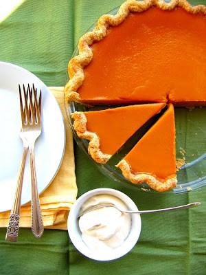 overhead shot of creamy pumpkin pie