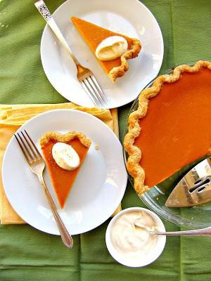 top down shot of creamy pumpkin pie