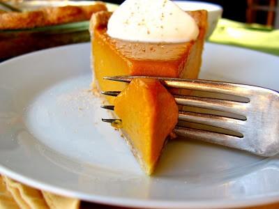 fork cutting through pumpkin pie