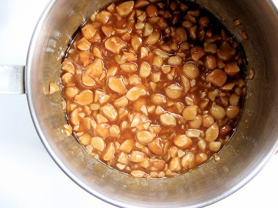 caramel nuts in a bowl