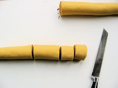 rolls pre baking being cut