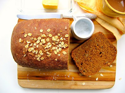 top down shot of oatmeal molasses bread