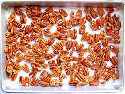 pecans in baking tray