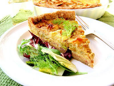 slice of bacon and leek quiche