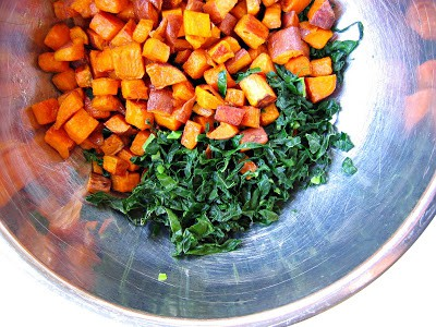 sweet potato and kale in a bowl