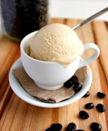 coffee ice cream scoop in a mug