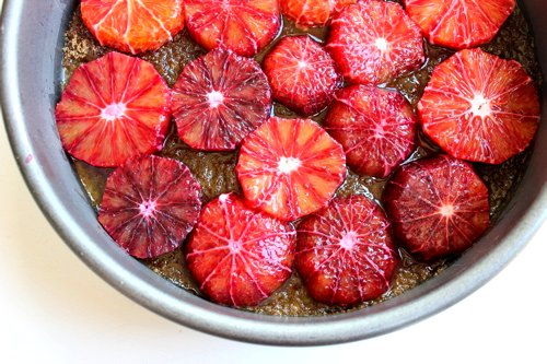 blood oranges cooking in a pan