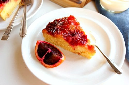 slice of delicious blood orange cake on a plate