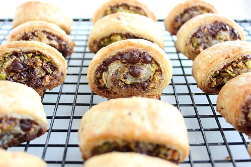 rows of rugelach on a wire rack