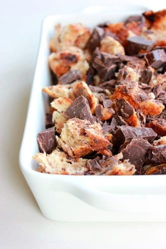 bread pudding in a baking dish before baking