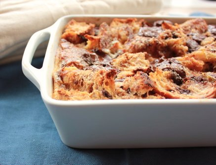 side shot of dish of bread pudding