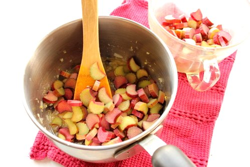 chopped rhubarb in a pot