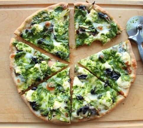top down shot of asparagus pesto pizza